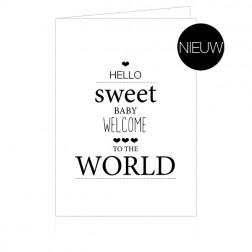 """Cenzaa Dubbele Wenskaart """"Hello Sweet Baby"""" 10st"""